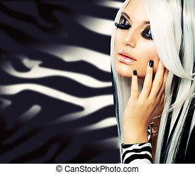 아름다움, 유행, 소녀, 검정과 백색, style., 길게, 하얀 머리