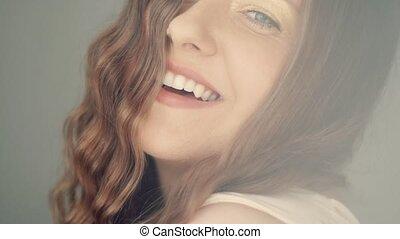 아름다움, 이, 나이 적은 편의, 건강, 아름다운, 건강한, 완전한, 여자, 백색, 미소, toothy