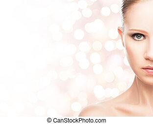 아름다움, concept., 얼굴, 의, a, 나이 적은 편의, 건강한 여자