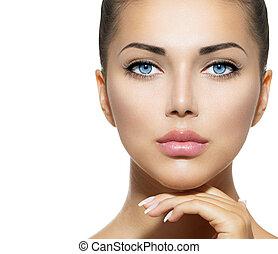 아름다움, portrait., 아름다운, 광천, 여자, 만지는 것, 그녀, 얼굴