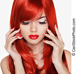 아름다움, portrait., 아름다운, 소녀, 와, 빨강, 길게, hair., 매니큐어를 칠하게 된다, na