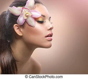 아름다움, portrait., 아름다운, 유행, 소녀, 와, 난초, 꽃