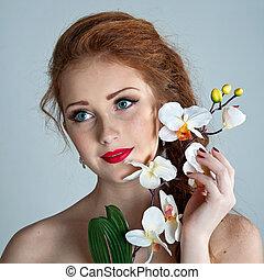 아름다움, woman., 아름다운, 모델, 소녀, 와, orchid.