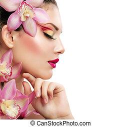 아름다움, woman., 아름다운, 모델, girl., 고립된, 통하고 있는, a, 백색 배경