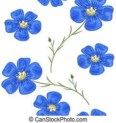 아마, 파랑은 꽃이 핀다, 와, stem., seamless, pattern., 벡터, illustration.