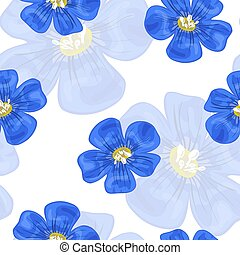 아마, 파랑, flowers., seamless, pattern., 벡터, illustration.
