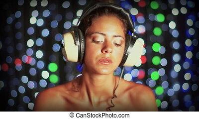 아물다, 발사, 의, 성적 매력이 있는, 여성, dj, 댄스, 와..., 노는 것, 기록