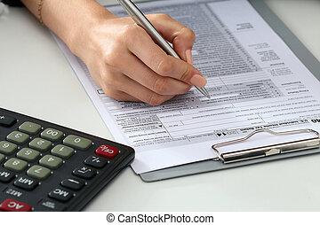 아물다, 발사, 의, 여자, 손, 서류 작성, 세금 신고서