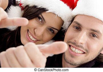 아물다, 보이는 상태, 의, 젊음 한 쌍, 입는 것, 크리스마스 모자, 와..., 복합어를 이루어 ...으로 보이는 사람