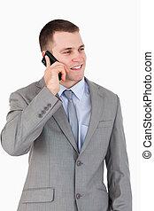 아물다, 의, 나이 적은 편의, 실업가, 전화로