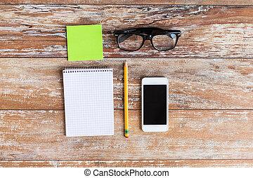 아물다, 의, 사무실, 재료, 통하고 있는, 테이블