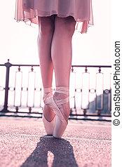 아물다, 의, 아름다운, 여성, 다리, 에서, pointe, 구두