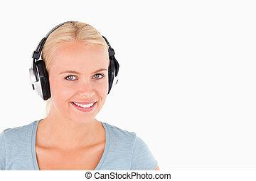 아물다, 의, a, 미소 여자, 와, 헤드폰