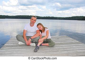 아버지, 아이, 호수