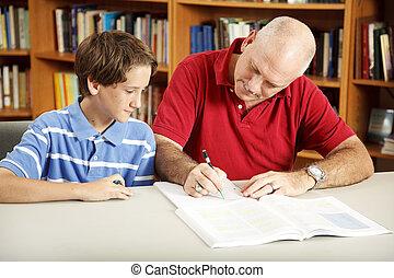 아빠, 도움, 아들, 와, 숙제