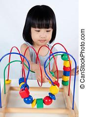 아시아 사람, 거의, 중국어, 소녀, 노는 것, 다채로운, 교육 장난감
