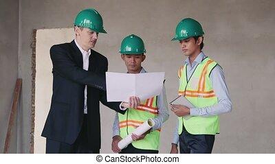 아시아 사람, 건축 용지, 와, 노동자