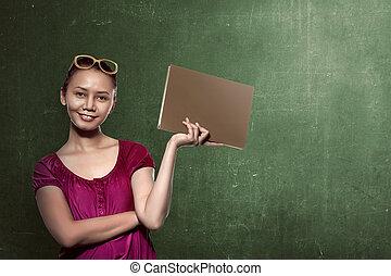 아시아 사람 여성, 학생, 보유, 책, 와, 칠판, 배경