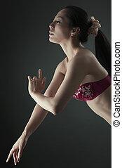아시아 사람 여자, 자세를 취함