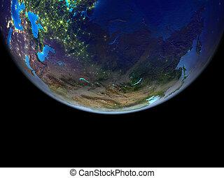 아시아, 통하고 있는, 지구, 에서, 공간