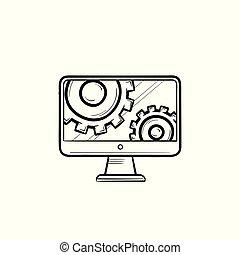 아우트라인, 낙서, 손, 은 설치한다, 그어진, icon., 모니터 구실을 하다