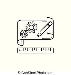 아우트라인, 낙서, 손, prototyping, 종이, 은 설치한다, 그어진, icon.