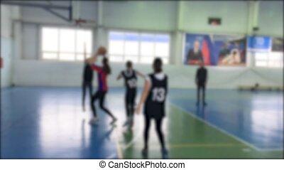 아이들 놀, 그만큼, 농구, 성냥, 희미해지는, 배경., 농구, 운동회, 옥내에서, 어린이 게임