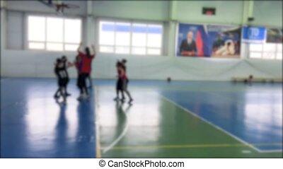 아이들 놀, 그만큼, 농구, 성냥, 희미해지는, 배경., 옥내에서, 농구, 운동회, 어린이 게임