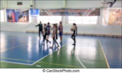아이들 놀, 농구, 성냥, 희미해지는, 배경., 농구, 운동회, 어린이 게임