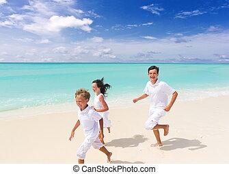 아이들 달림, 통하고 있는, 바닷가