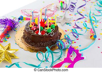 아이들, 생일 파티, 와, 쵸콜릿 케이크