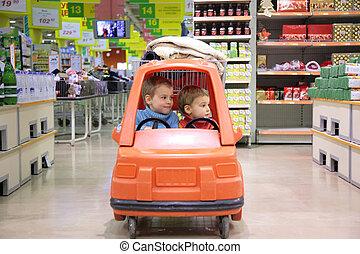 아이들, 에서, 장난감 자동차, 에서, 슈퍼마켓