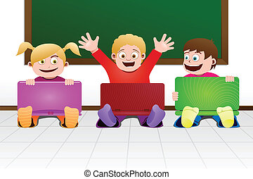아이들, 와, 휴대용 퍼스널 컴퓨터, 에서, 교실