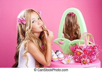 아이들, 유행, 인형, 어린 소녀, 입술 연지, 구성, 핑크, 허영심