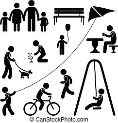 아이들, 정원, 운동장, 공원