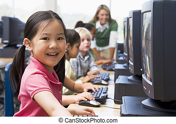 아이들, 컴퓨터에, 말단, 와, 선생님, 에서, 배경, (depth, 의, field/high, key)