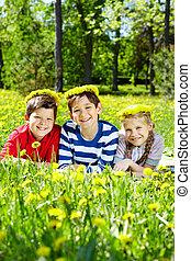 아이들, 통하고 있는, 잔디