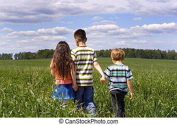 아이들, 통하고 있는, a, 목초지