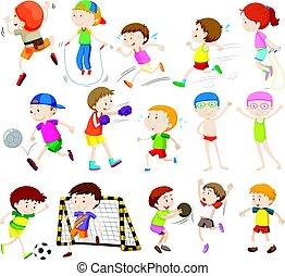 아이들, 함, 다른, 활동