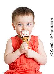 아이스크림, 미소, 먹다, 소녀, 아이