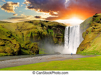 아이슬란드, 폭포, -, skogafoss