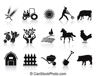 아이콘, 검정, 세트, 농장, 농업