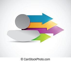 아이콘, 와..., 색, arrows., 삽화, 디자인