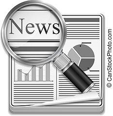 아이콘, 의, 신문, 와, 확대경