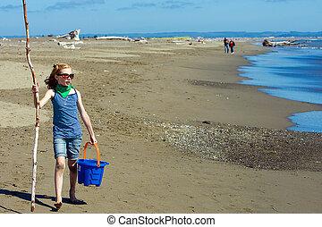 아이, 걷기, 바닷가에