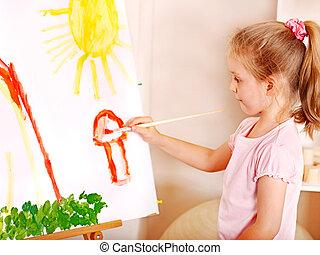 아이 그림, 에, easel.