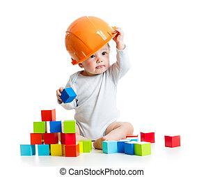 아이, 노는 것, 와, 빌딩 블럭, 장난감