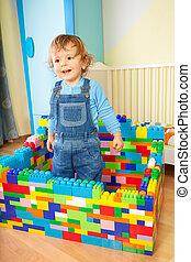 아이, 노는 것, 와, 장난감, blocs