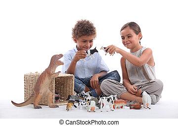 아이 놀, 와, 장난감 동물