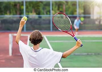 아이 놀, 테니스, 통하고 있는, 옥외, 법정